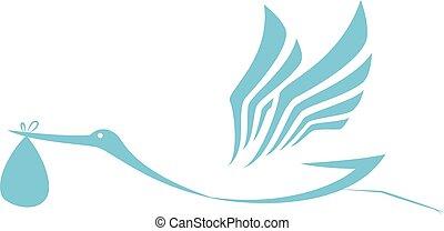 Stork delivering icon - Vector Illustration of Stork...
