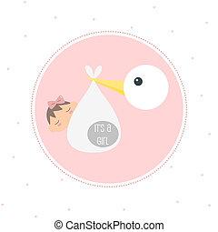 Stork Delivering Newborn Baby Girl