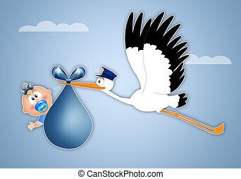 stork delivering newborn boy - stork delivering newborn baby...