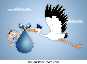 stork delivering newborn boy - stork delivering newborn baby...