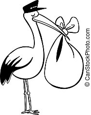 stork delivery line art vector illustration image scalable...