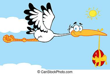 Stork Flying An Easter Egg