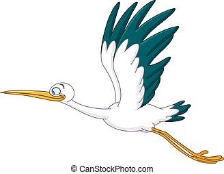 Stork flying - Smiling stork flying