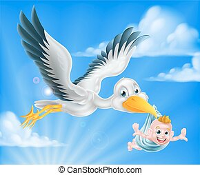 Stork flying holding baby