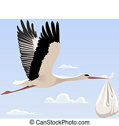 Stork - Flying stork with a bundle
