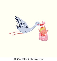 Stork flying with cute little girl in bag. Newborn child. Flat vector element for baby shower card or poster