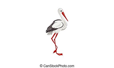 Stork icon animation best object on white background