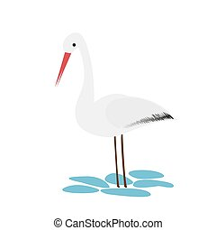 Stork icon in cartoon style isolated on white background.