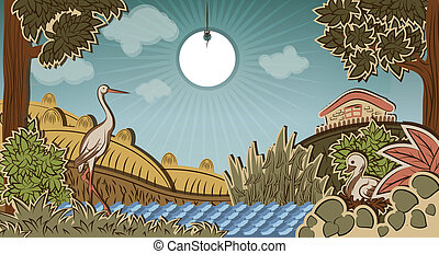 Stork in front of countryside and duck sitting on eggs....