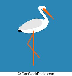 Stork isolated. Bird with long legs. Vector illustration