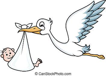 stork, med, baby