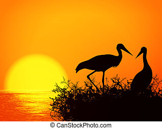 Stork Nest - Illustration of Stork Nest Silhouette Over...