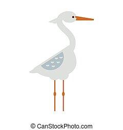 Stork standing sarus crane cartoon vector. - Stork lovely...