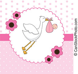 Stork - stork with a baby in her pouch vector illustration