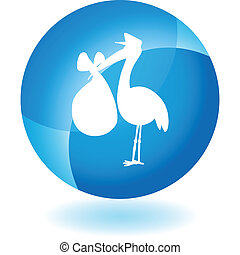 Stork web button isolated on a background