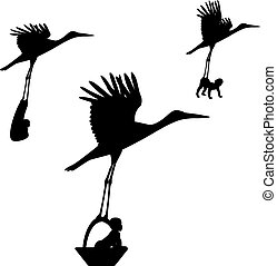Stork with a baby in a basket - Vector illustration of a...