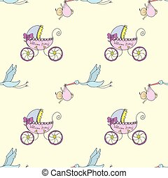 Stork with a newborn and a baby stroller -seamless pattern