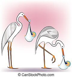 Stork with baby 3