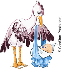Stork with baby boys - Cute smiling stork delivering a baby...