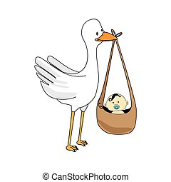 Stork with baby cartoon graphic design.