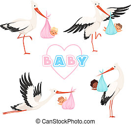 Stork with baby. Cute bird flying with newborn pacifier little children vector cartoon mascot funny poses