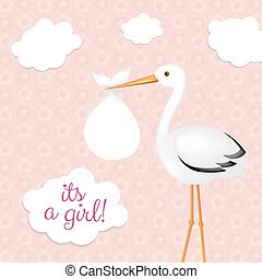 Stork With Baby Girl