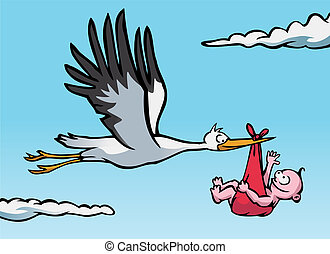 Stork with baby - Flying stork with a baby in a red cloth.