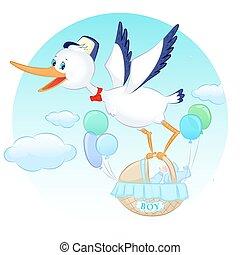 stork with boy