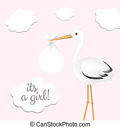Stork With Girl Baby