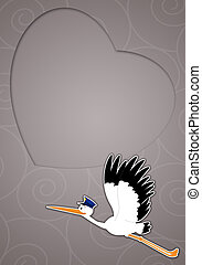 Stork with heart to celebrate birth - illustration of Stork...