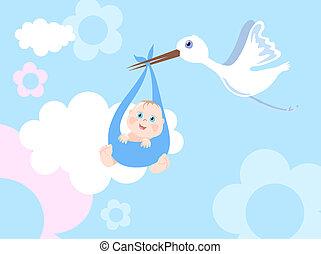 Stork with infant - Vector illustration of stork with infant...