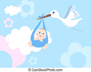 Stork with infant - Vector illustration of stork with infant...