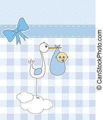 stork with newborn baby boy