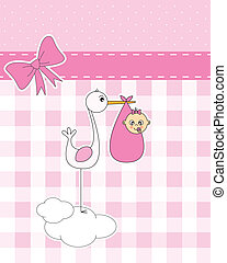stork with newborn baby girl - Baby girl arrival ...