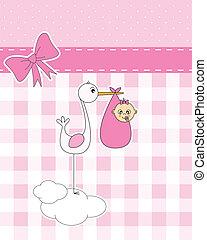 stork with newborn baby girl