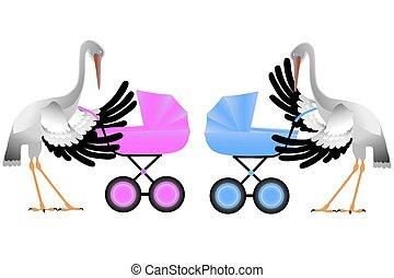 Stork with pram