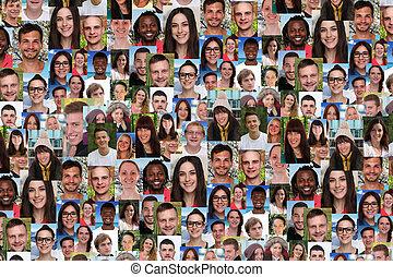 storklasse, folk, collage, medier, unge, multiracial, ...