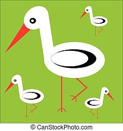 Storks family on green background