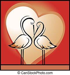 Storks in love - Vector illustration of storks in love