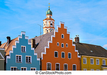 Storks in the historic city of Schrobenhausen (Bavaria, Germany)