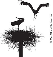 Storks in the nest - Silhouettes of two storks to nest