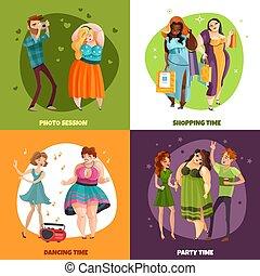 storlek, plus, begrepp, design, kvinnor