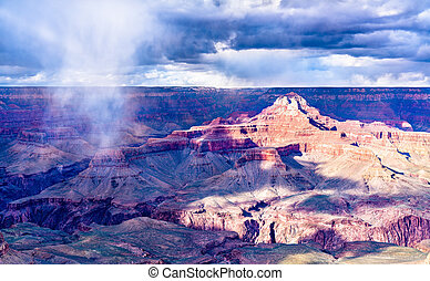 Storm above the Grand Canyon in spring