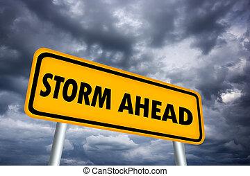 Storm ahead warning sign illustration