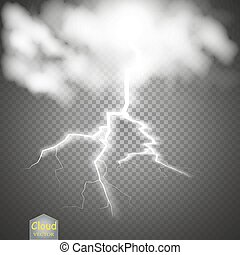 Storm and Lightning with rain and white cloud isolated on transparent background.