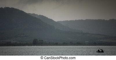 Storm and Rain over lake, France