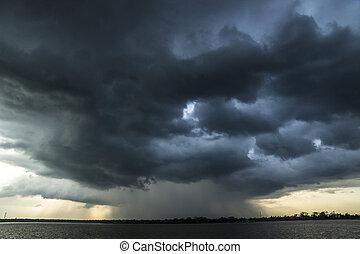 Storm and raincloud over lake in Sri Lanka