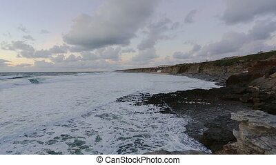 Storm and waves on the shores of Ericeira. Portugal.