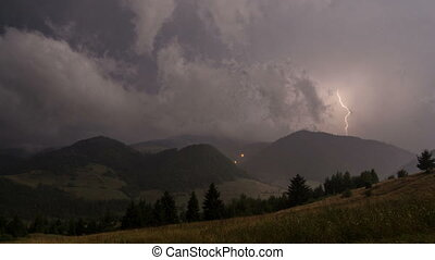 Storm at night with powerful lightning time lapse. Rain clouds. Two in one sequence