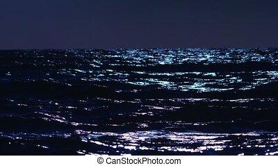 storm at sea at night. 4k, slow motion.